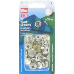 """Bouton pression """"Sport&Camping"""" recharge 15mm argent"""